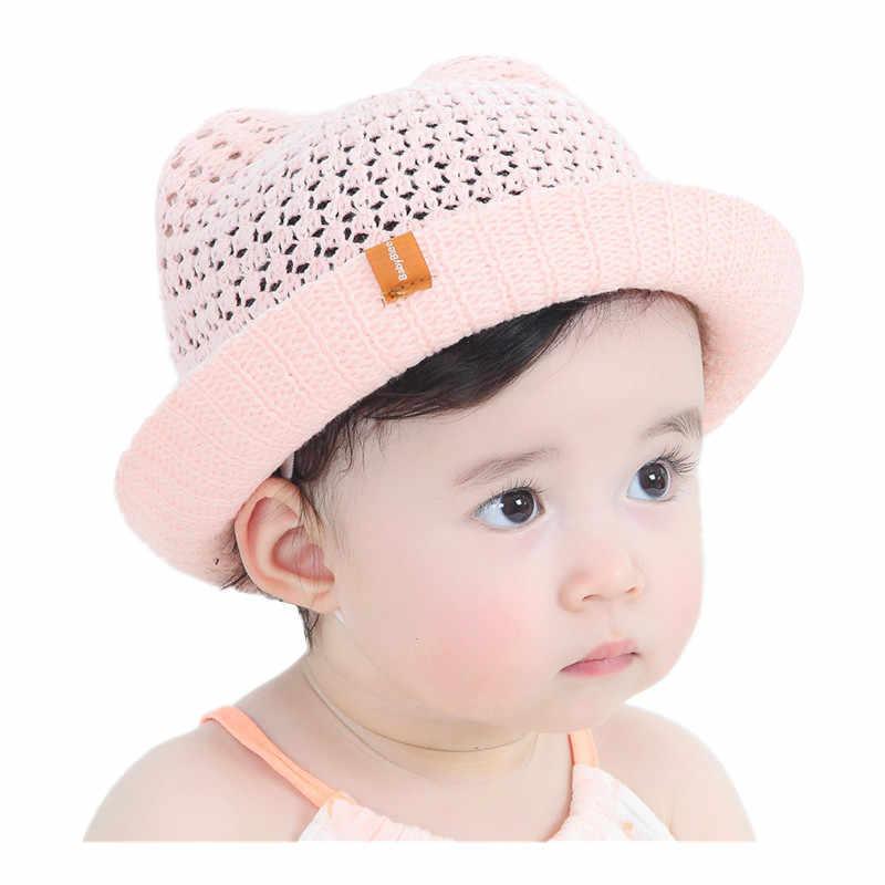 dc5a610dc92 Summer Children s Cartoon Ears Sun Hat Baby Girls Handmade Knitted Sun Cap  Foldable Boy Basin Caps