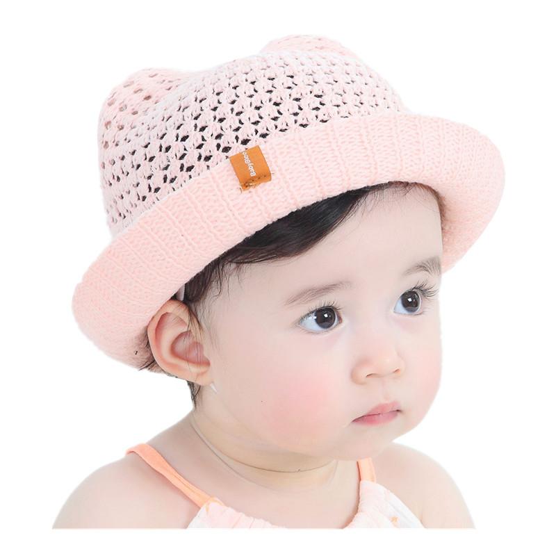 Summer Children S Cartoon Ears Sun Hat Baby Girls Handmade Knitted