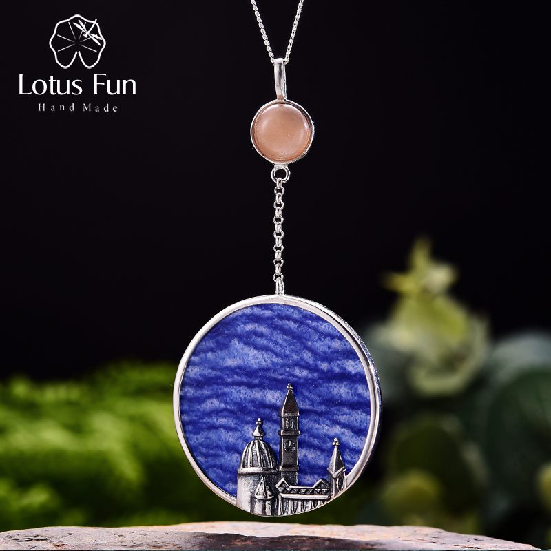 купить Lotus Fun Real 925 Sterling Silver Natural Aventurine Handmade Fine Jewelry Florence Cathedral Pendant without Necklace Women по цене 3189.08 рублей