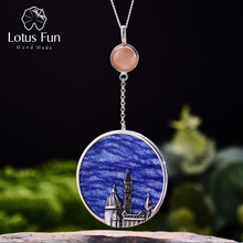 Lotus Fun Real 925 Sterling Silver Natural Aventurine Handmade Fine Jewelry Florence Cathedral Pendant without Necklace  Women