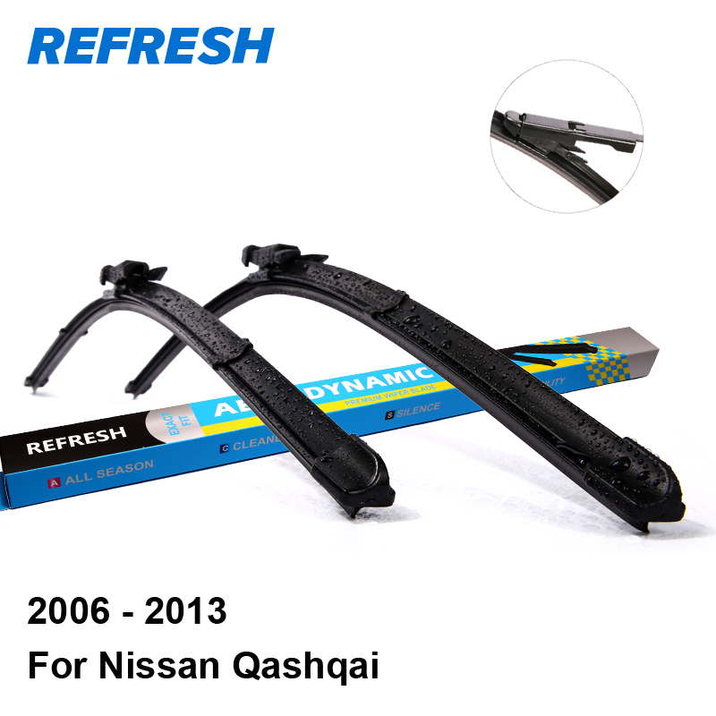 Refresh Wiper Blades for Nissan Qashqai J10 24&15 Fit Pinch Tab Arms 2006 2007 2008 2009 2010 2011 2012 2013 hot tracking for nissan qashqai 2007 2008 2009 2010 2011 2012 2013 aluminum canvas black rear cargo cover