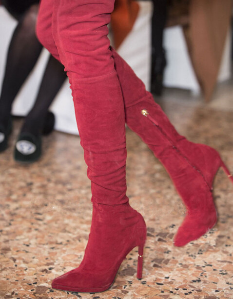 New Hot 2017 Sexy Stiletto Heels Over the Knee Boots Runway Pointed Toe Thigh High Boots High Quality Suede Boots Black Red new fashion back lace women over the knee boots black suede leather ladies pointy toe thigh boots stiletto boots