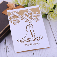 Butterfly Romantic MR MRS Wedding invitation card,Anniversary greeting card elegant laser cut stickers paper cover sets