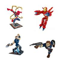 DIY Assemable Marvel Figure Spiderman Cap Iron Man Thro Building Blocks Children Toys Educational Model Bricks Kids Gifts
