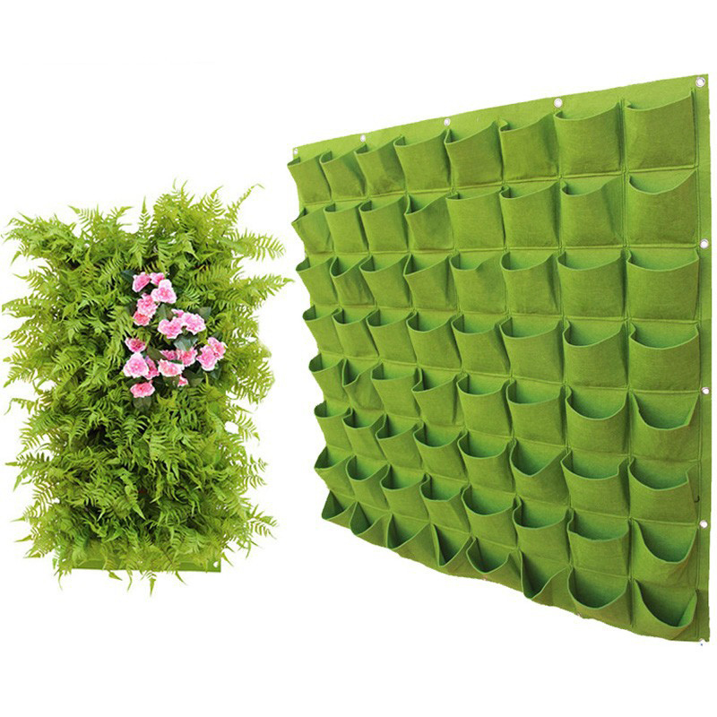 Wall Hanging Planting Bag Garden Vertical Planter Multi Pocket Wall Mount Living Growing Bag Felt Indoor Outdoor Pot Black Green