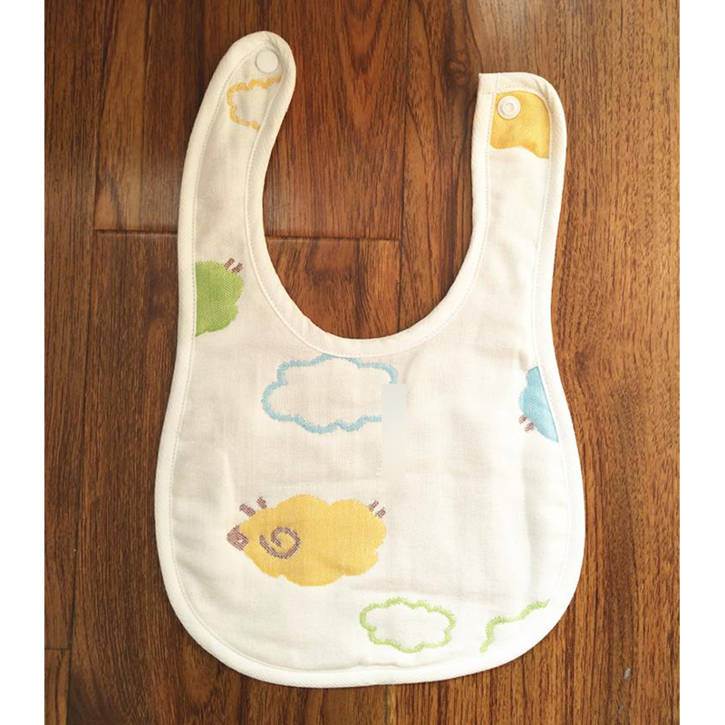 Y160 Free shipping mushroom gauze baby bib new born baby saliva towel fastening without fluorescent agent