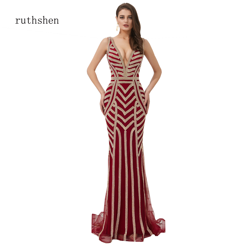 Robe de sirène impitoyable col en V dos nu Sexy à la main perles robe formelle balayage Tain longues robes de soirée de luxe robe de soirée en or