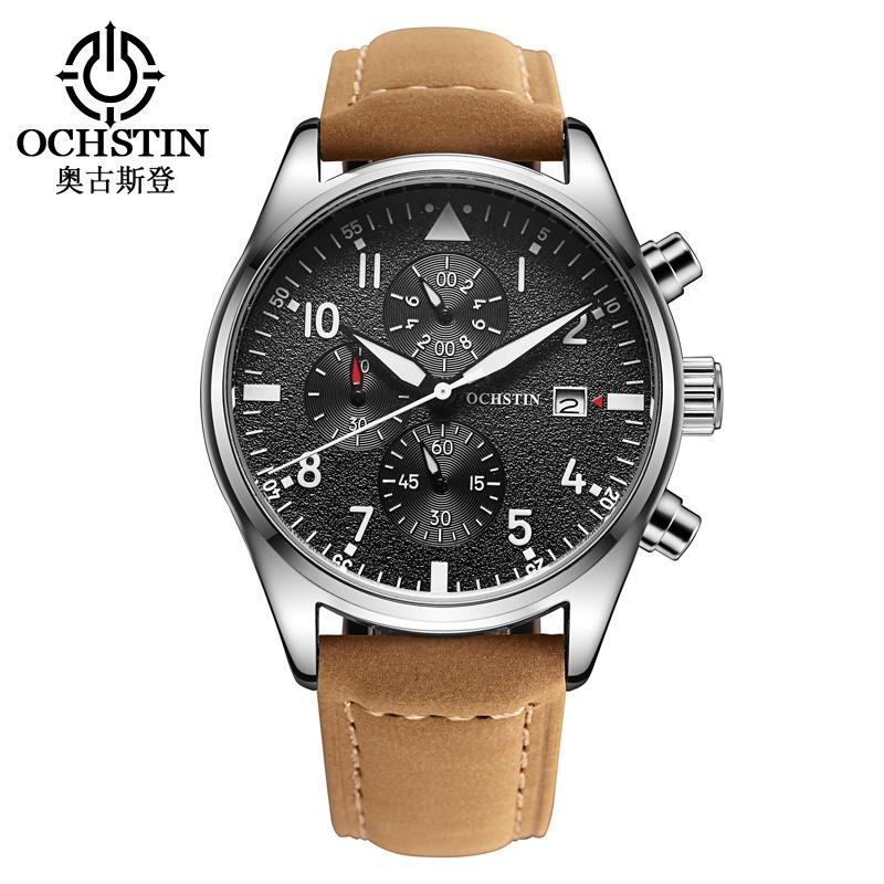 Prix pour Populaire Marque Hommes de Sport Montre Mode Hommes Casual Bracelet À Quartz Montres Multi-fonction Étanche Véritable En Cuir Militaire Horloge