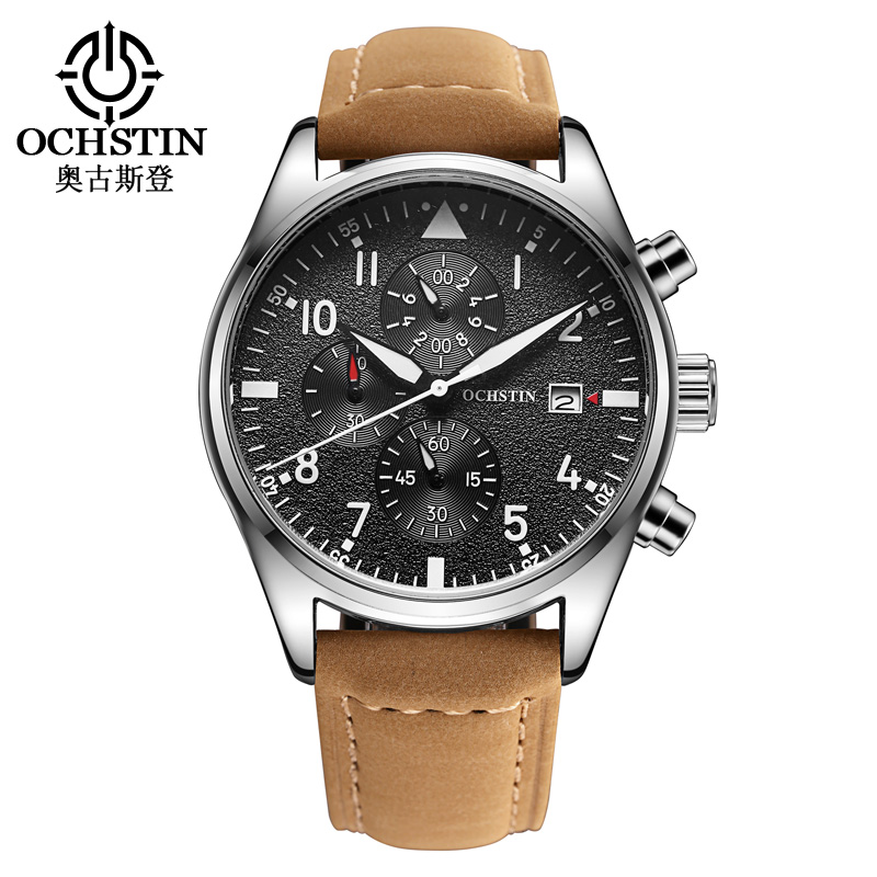 Popular Brand Men's Sport Watch Fashion Men Casual Quartz Wrist Watches Multi-function Waterproof Genuine Leather Military Clock splendid brand new boys girls students time clock electronic digital lcd wrist sport watch