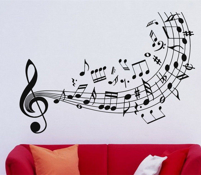Dsu quality music wall decal vinyl sticker music notes treble clef art decor home decoration wall