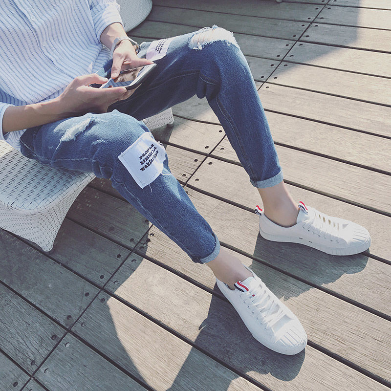 Spring And Summer New Hole Jeans Men's Loose Straight Casual Korean Fashion Student Beggars Pants