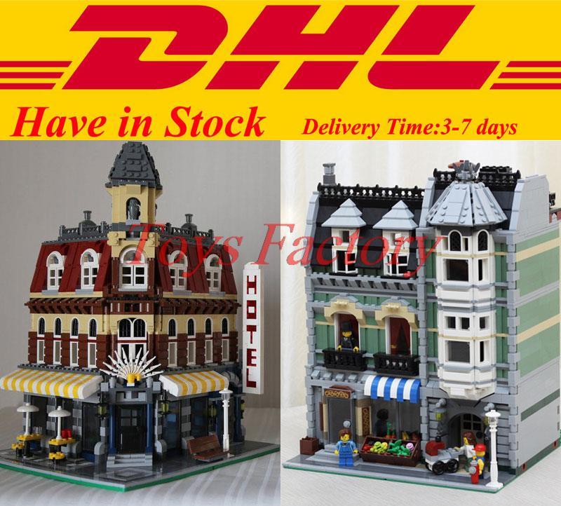 ФОТО 2017 DHL City Town Street LEPIN 15002 Cafe Corner 15008 Green Grocer Building Block Bricks Kits Set  Clone 10185