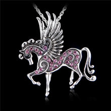 Pegasus Fly Horse Pendant Necklace Women Lady Thai silver Jewelry Vintage necklace(China)