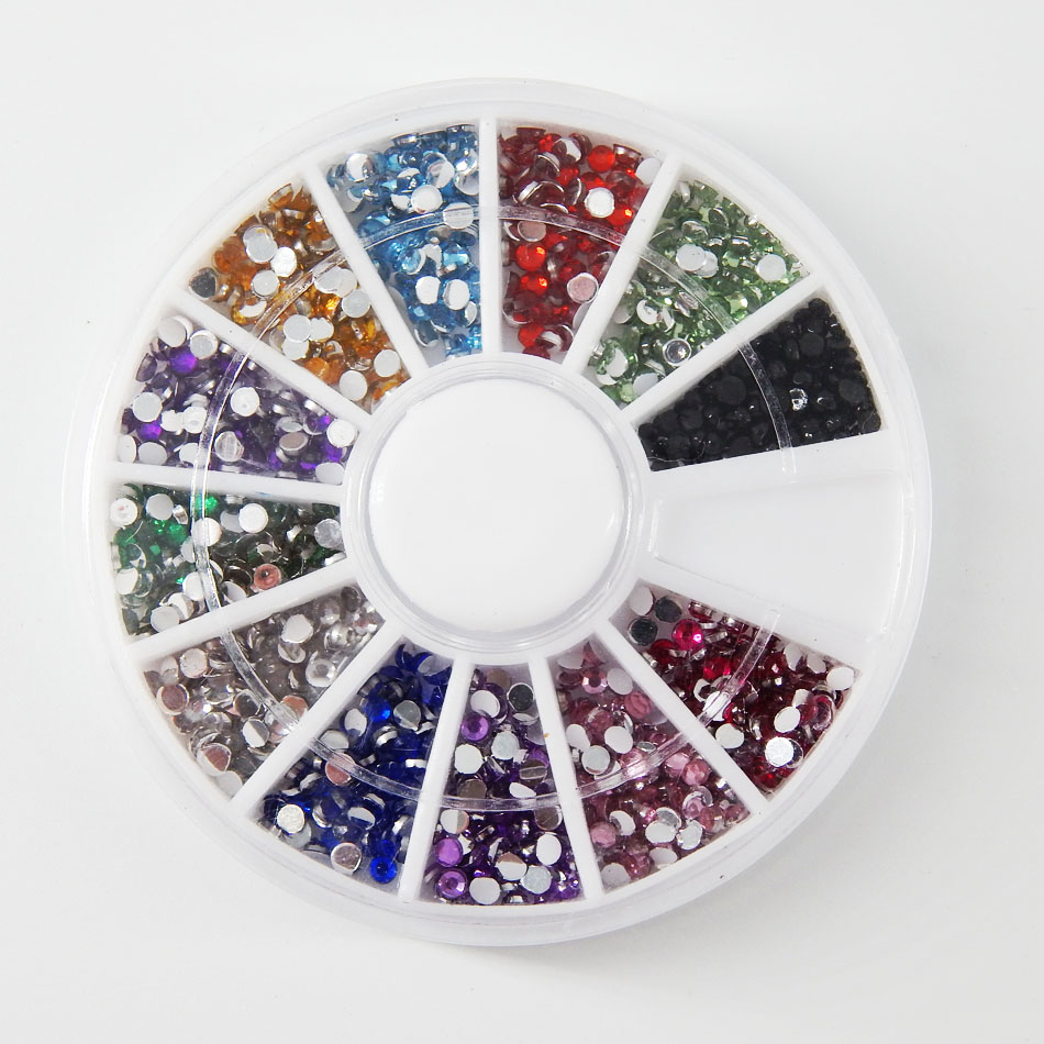 600pcs in 12color 2 0MM False Rhinestones Decoration with Hard Case for font b Nail b
