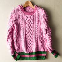 Fashion Women S Designing Brand New Bottons Solid Color Black Pink Casual Pullovers Sweater Striped Winter