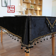 Classical Noble Black Velvet Luxury Table Cloth European Retro Tea Table  Cloth Cover Decoration Beads Tassels Thick Tablecloth