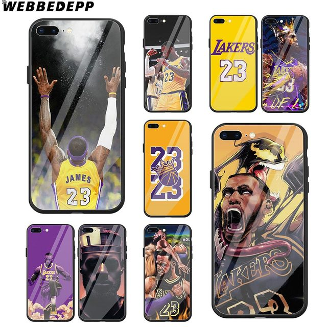 ffa0977fa661ad WEBBEDEPP Lebron James 23 Lj Lakers Tempered Glass Phone Case for Apple  iPhone Xr Xs Max X or 10 8 7 6 6S Plus 5 5S SE 7Plus