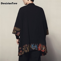 2019 summer Men Cotton Linen Cardigan Jacket Chinese Style Male Fashion Casual Loose Windbreaker Kimono Shawl Outerwear Coat