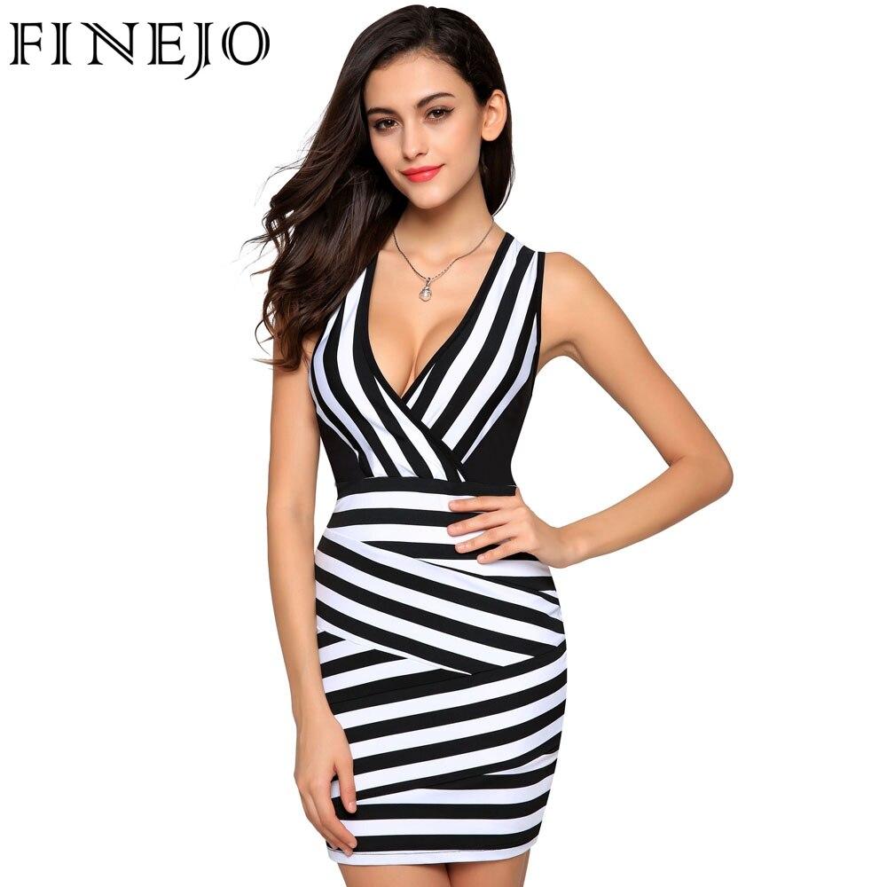 FINEJO 2017 Summer Ladies Women Club Sexy V-neck Stripped Sleeveless Slim Bodycon Sheath Mini Party DressVestidos Plus Size