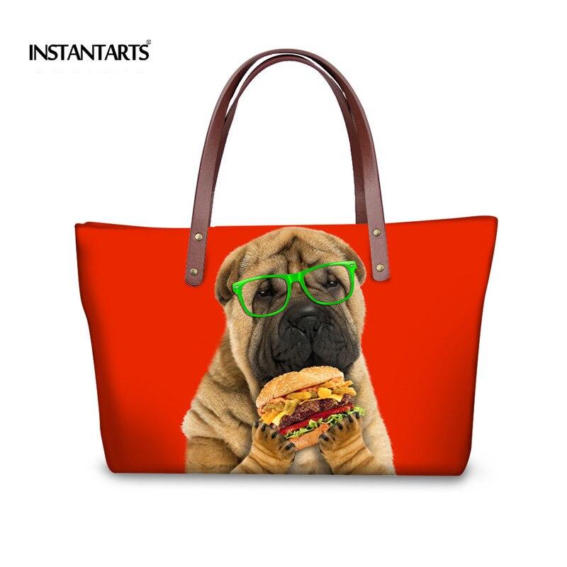 Instantarts أزياء النساء قدرة كبيرة حقائب لطيف الصلصال الكلب السيدات المراهنات حقيبة 3d الحيوانية مطبوعة أنثى الأعلى مقبض حقائب
