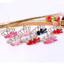 headdress Cute Baby Girls Children pearl rhinoceros three - dimensional crown hairpin princess Shiny Crown Rhinestone Hair Clip недорого