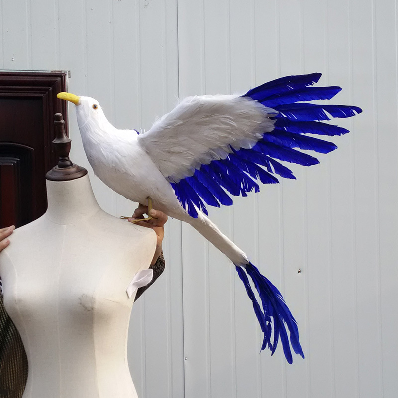 creative big simulation Phoenix toy lifelike white & blue wings long tail bird gift about 65cm big simulation wings dove bird polyethylene