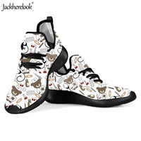 Jackherelook Lace up Students Breathable Athletic Outdoor Sneakers Pediatrics Nurse Bear Printed Spring Shoes Lightweight Shoe