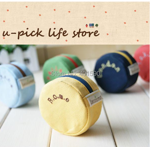 12pcs/lot Fashion Zipper Coin Bag Small Change Purse Wallet Round Shape Canvas Bag For Girls women boys men