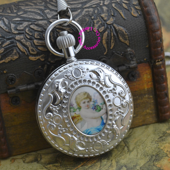 wholesale price top good quality new gift man retro vintage classic silver copper brass case Cupid mechanical pocket watch hour цена и фото