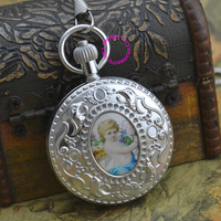 wholesale price top good quality new gift man retro vintage classic silver copper brass case Cupid mechanical pocket watch hour