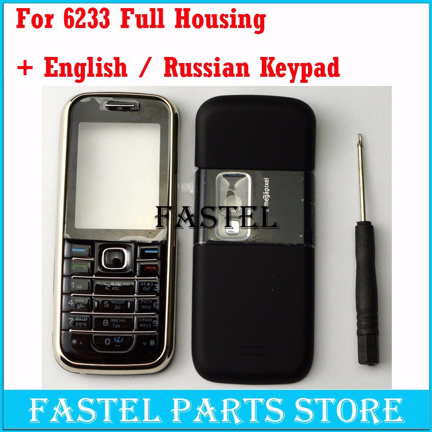 HKFASTEL For Nokia 6233 High Quality New Full Complete Mobile Phone Housing Cover Case + English/Russian Keypad +  With Tracking