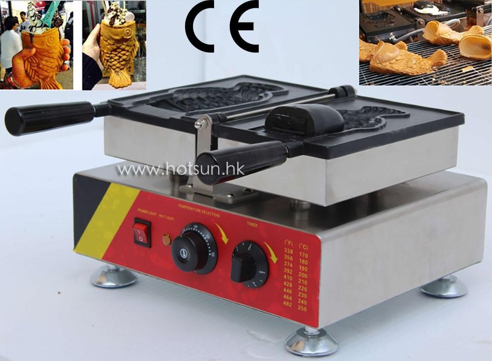New Commercial Use Non-stick Electric 110v 220v Single Soft Ice Cream Taiyaki Fish Waffle Iron Maker Machine Baker