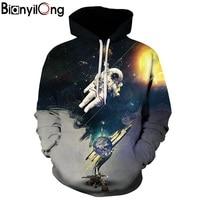 BIANYILONG New Fashion Men Women 3d Sweatshirt Print Astronauts On The Moon Thin Hooded Hoodies Hoody