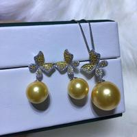 Butterfly 925 Silver Pearl Pendant and Earrings Set Findings Jewelry Set Mounts Settings Mountings Parts for Pearls Stones Beads