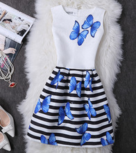 2017 Summer Girls Dress Butterfly Floral Print Princess Dresses for Baby Girls Designer Formal Party Dress Kids Clothes Vestido