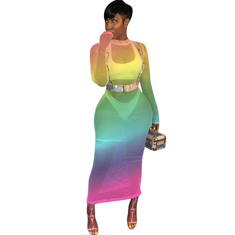 0155b8ea85648dc С принтом радуги облегающее платье макси Для женщин О-образным вырезом  сетки See Through длинным