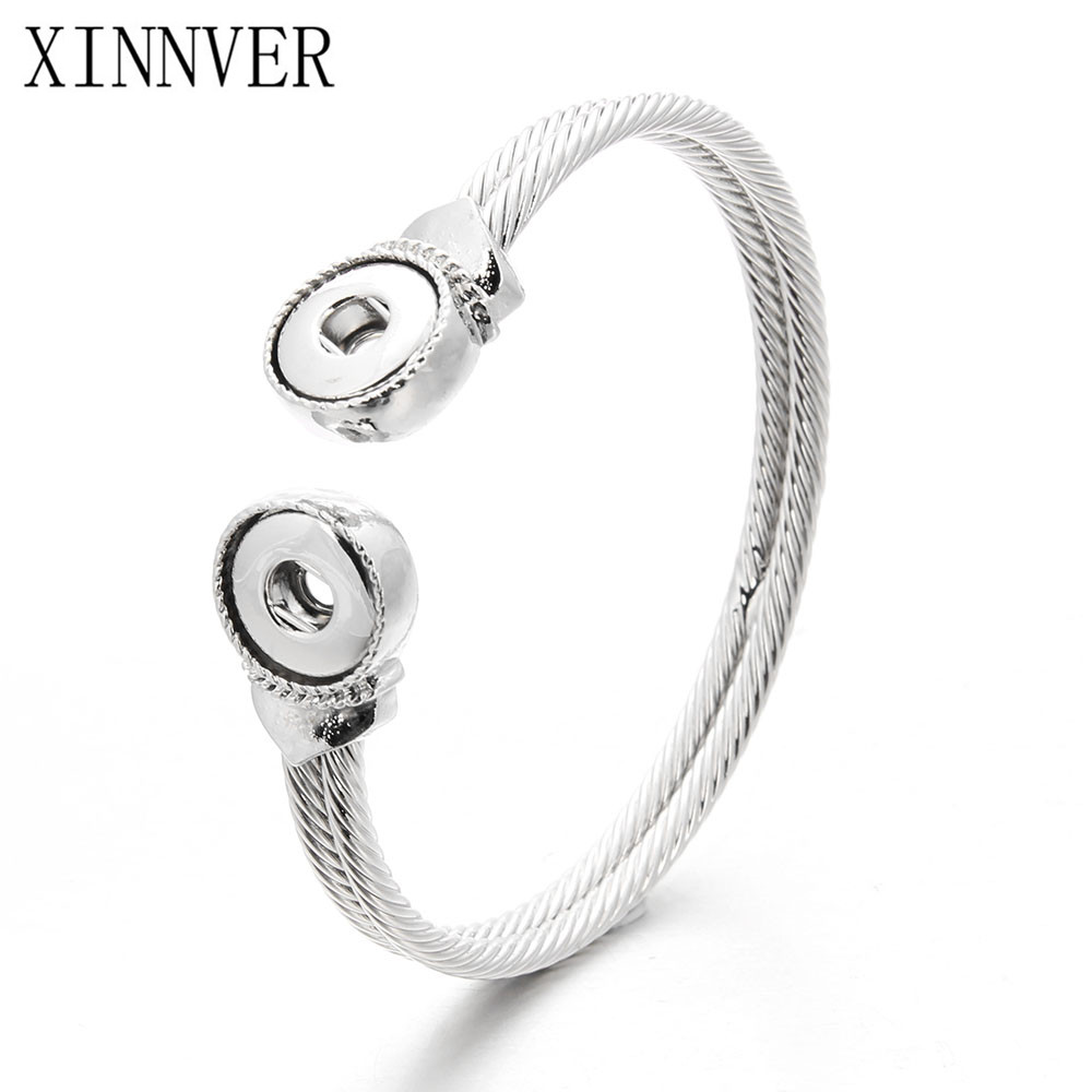 Newest Snap Bracelet Fit 12mm Snap Button Jewelry Real Stainless Steel Cuff Bracelet Unisex DIY jewelry Gifts ZE260 image