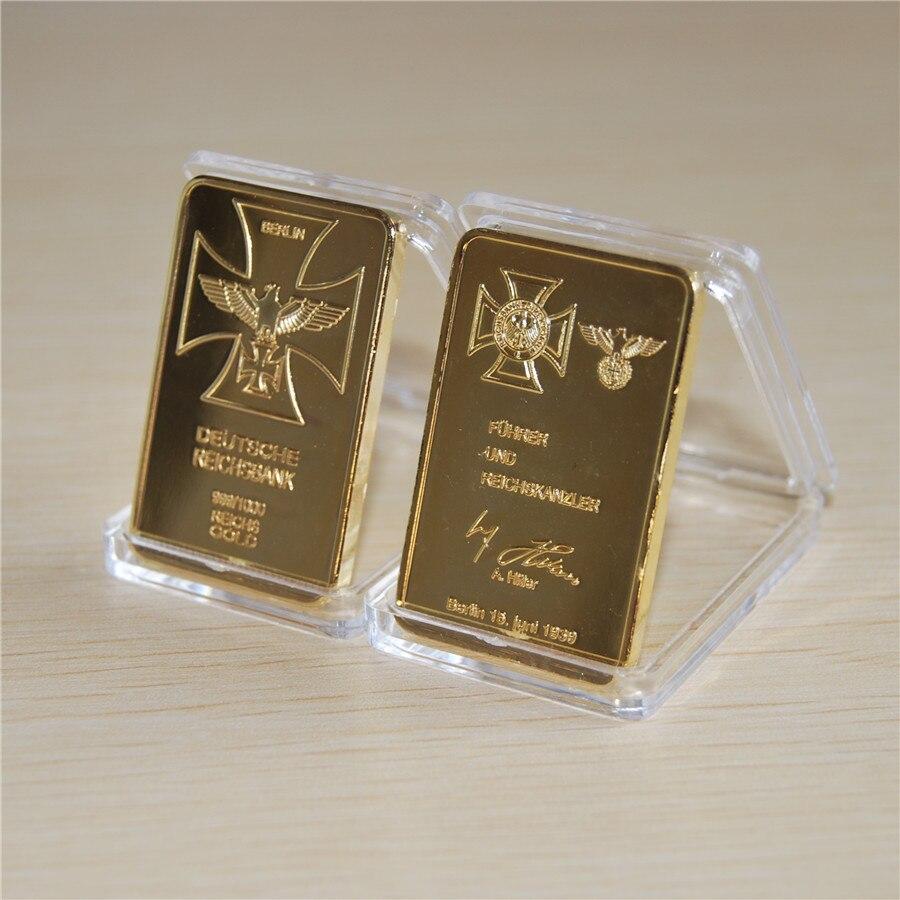 1 OZ German Eagle gold bullion bar Deutsche Reichsbank 999/1000 Reichs Gold bar free shipping 15pcs/lot