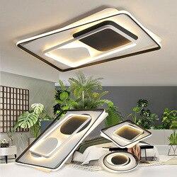 Okrągłe/kwadratowe lampy sufitowe LED na oświetlenie salonu sypialnia strona główna białe i czarne żelazko + akrylowa nowoczesna oprawa oświetleniowa sufitowa Led