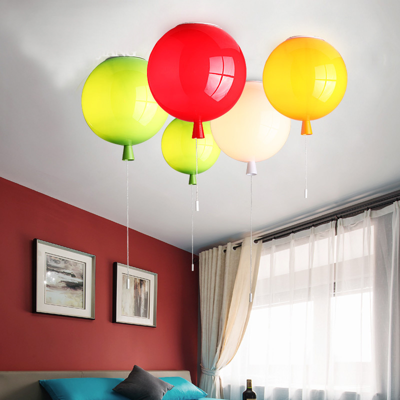 Scandinavian creative color balloon personalized acrylic modern minimalist ceiling lamp nursery children room bedroom light