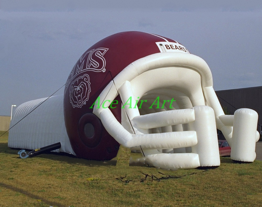 advertising sport game inflatable football helmet passage, inflatable rugby passage for sale