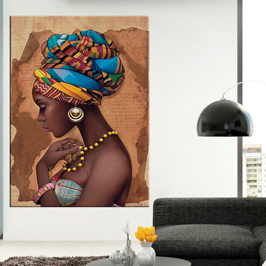 Africa canvas painting Wall Art Painting Pictures Posters and Prints Black Woman On canvas home decor Wall Pictures for living room