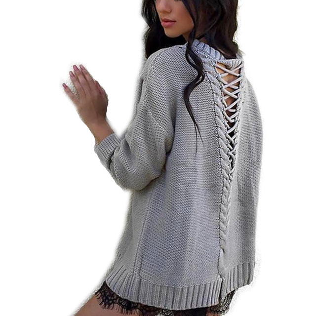 Sweater Backless Corss Knitted Shirt For Women Loose Casual Sweaters Long Sleeve Pullovers 2017 Winter WS888Z