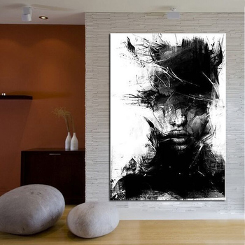 Figure Abstract Hand Painted Oil Painting On Canvas Home Decoration African Black Man Wall Art Stretched On Wooden