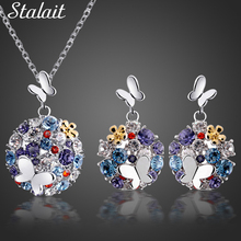 fashion Brand 18K Platinum Austrian Crystal Rhinestones Butterfly Pendant chain Jewelry Sets bridal necklace earrings 84956