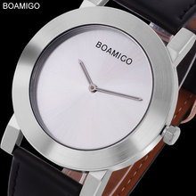 BOAMIGO 2017 new popular brand men watches fashion casual quartz watches ultra-thin silver large simple dial black leather strap