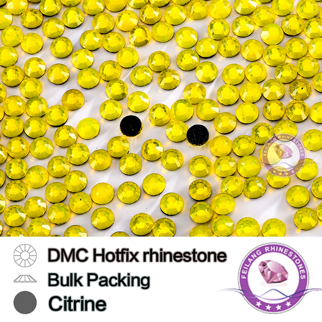 All Size SS6 SS10 SS16 SS20 SS30 Citrine Hotfix Bulking Packing Rhinestone For Garments Bags And Shoes