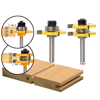 1/2 Inch Shank Cutter Matched Tongue Groove Router Bit Set Hard Alloy T Shape Woodworking Tool JDH99