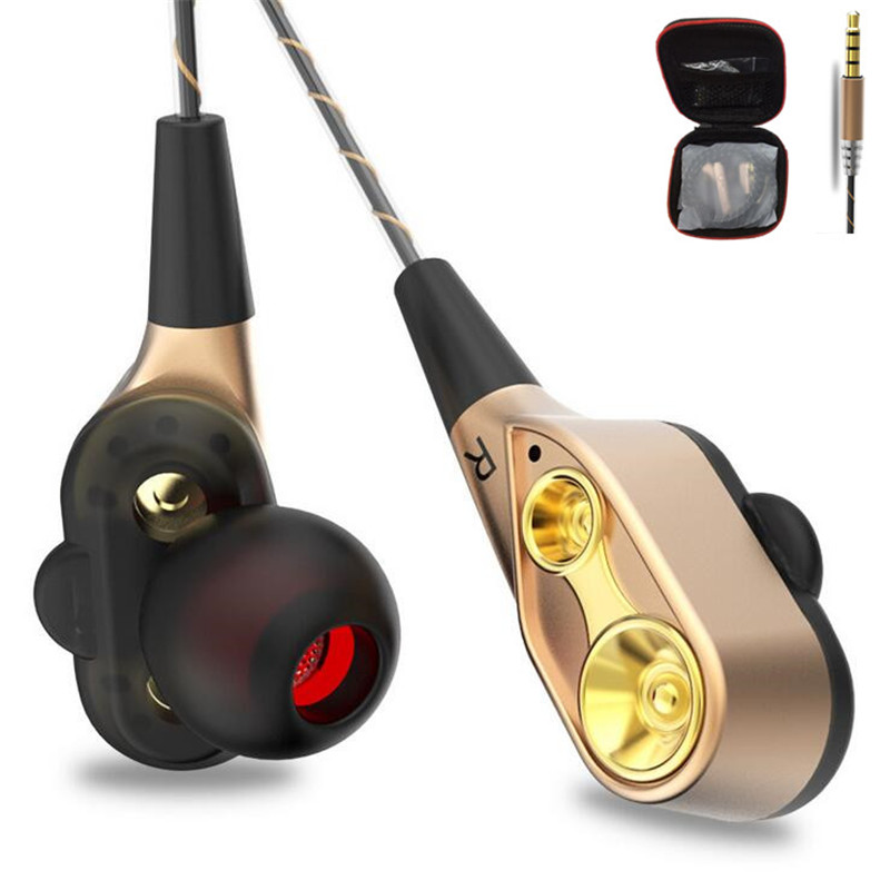 New Wired Earphone High bass Dual Drive Stereo HiFi In-Ear Earphones With Microphone Computer earbuds For iPhone Xiaomi Sport купить