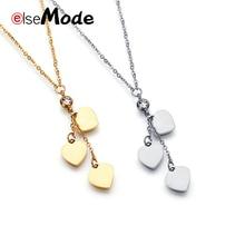 c143fec3a526 ELSEMODE de diamantes de imitación amor tres colgante del encanto del  corazón collares de acero inoxidable para las mujeres de o.